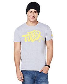 Adult Tilted Towers Graffiti Logo T Shirt - Fortnite