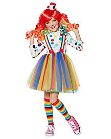 Kids Rainbow Clown Costume